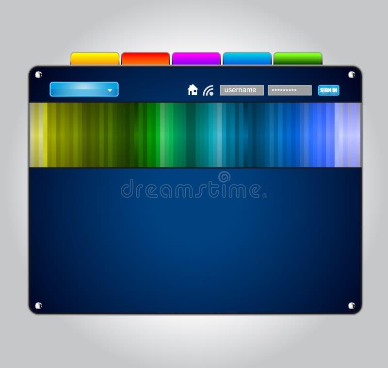WebDesign Schablone mit ursprünglichen Auslegungelementen lizenzfreie abbildung