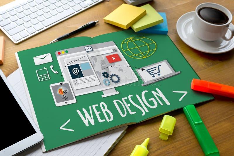 Webdesign-Software-Medien WWW und Website entwerfen entgegenkommendes Netz stockbilder