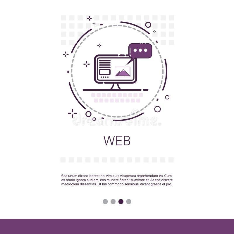 Webdesign-Softwareentwicklungs-Computer-Programmierungsgerät-Technologie-Fahne mit Kopien-Raum stock abbildung