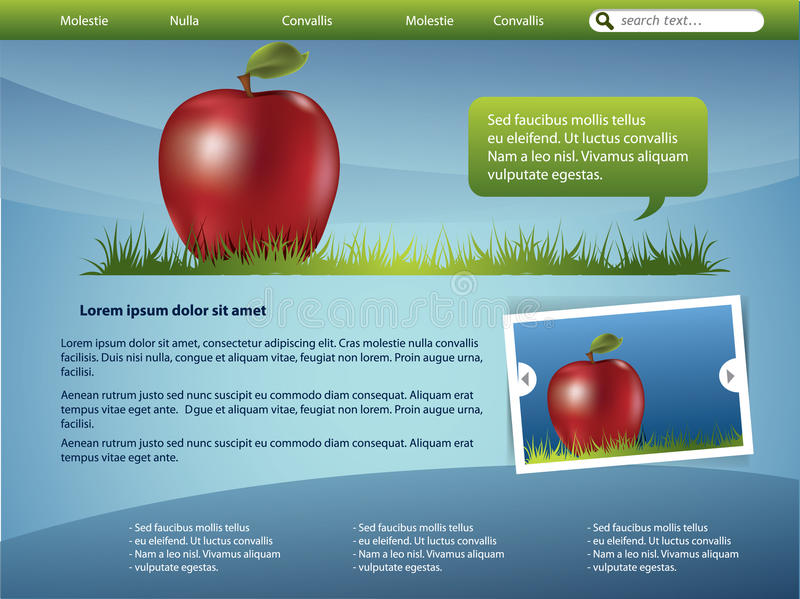 Webdesign template. Healthy theme with apple and grass vector illustration