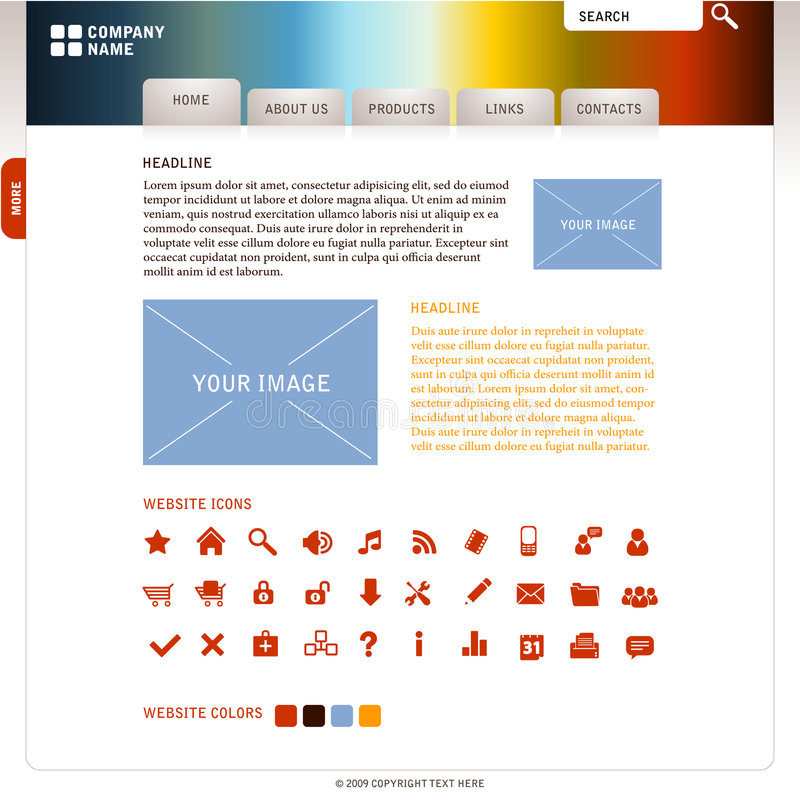 Webdesign template. Creative and easy editable webdesign for your company royalty free illustration