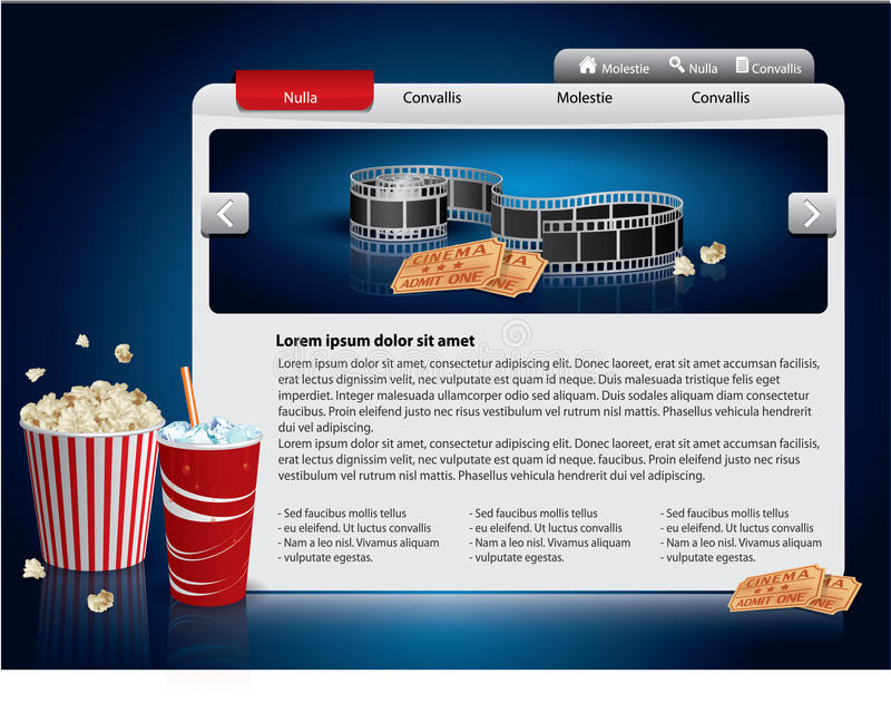 Webdesign template - Movie theme. With popcorn and soda drink vector illustration