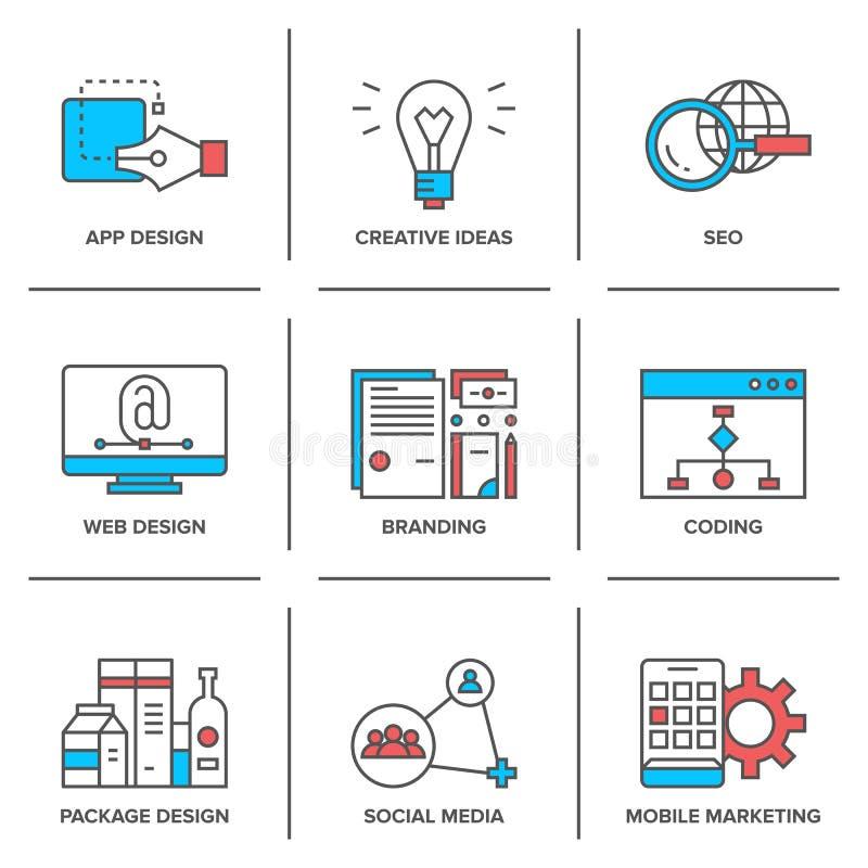 Webdesign und bewegliche Marketing-Linie Ikonen eingestellt stock abbildung