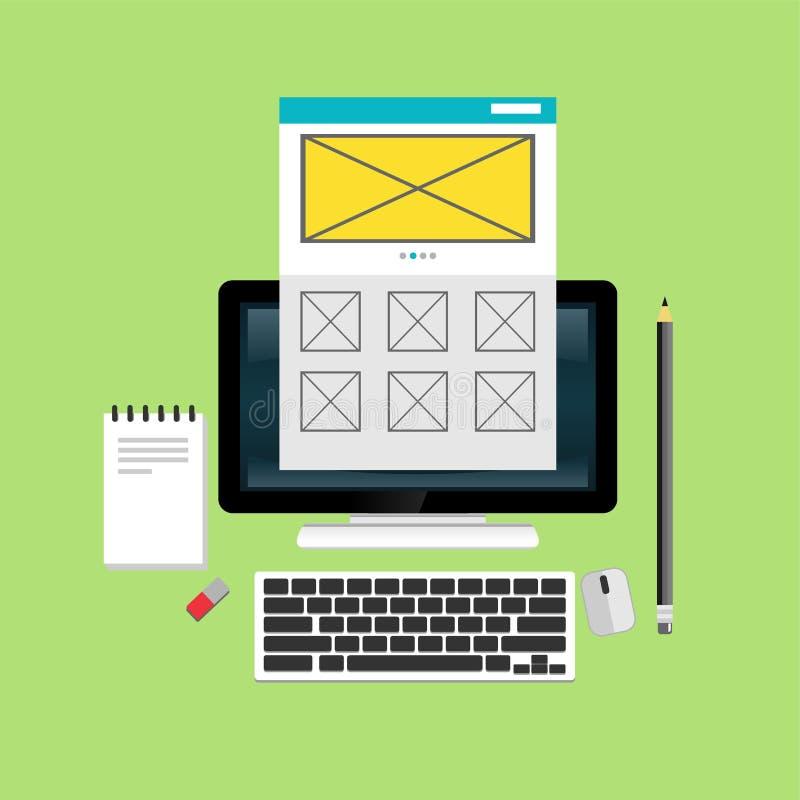 Webdesign- und Entwicklungskonzepte Elemente für Mobile und Web-Anwendungen lizenzfreie abbildung
