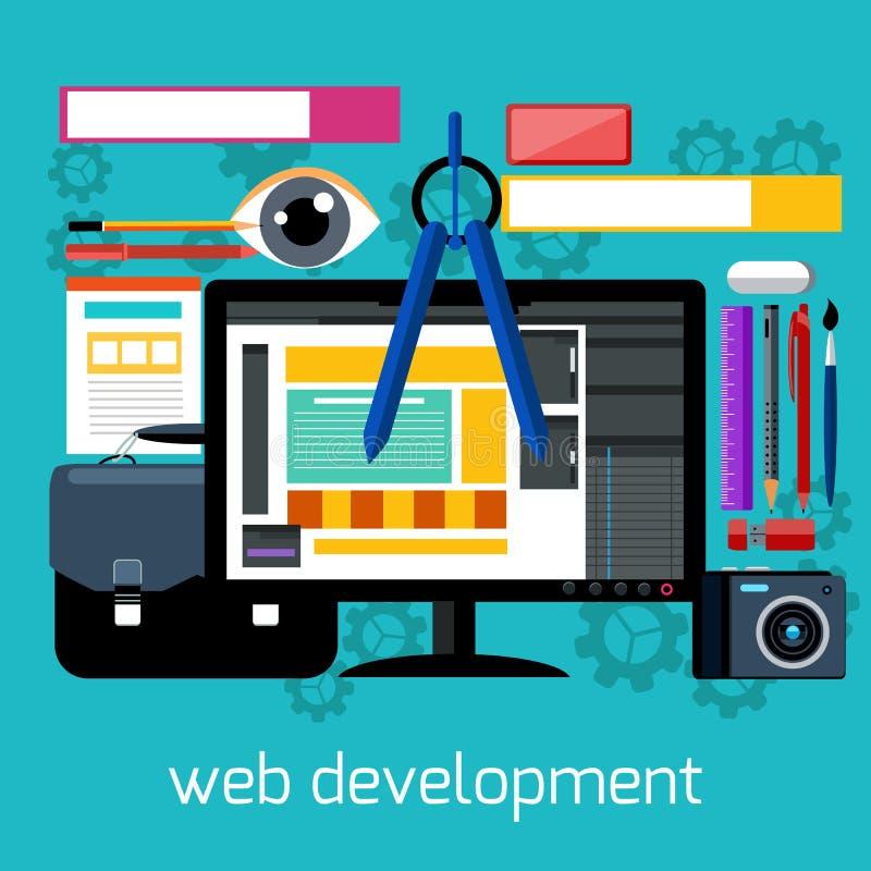 Webdesign und flaches Konzept der Entwicklung lizenzfreie abbildung