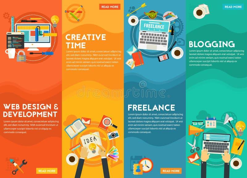 Webdesign, utveckling, Blogging, Freeance och idérikt Tid begrepp royaltyfri illustrationer