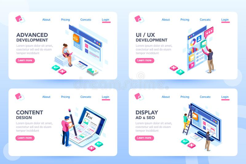 Webdesign Web Page Develop Process Templates. Develop, web development, process concept, webdesign advertising, engine for software content. Visual front vector illustration