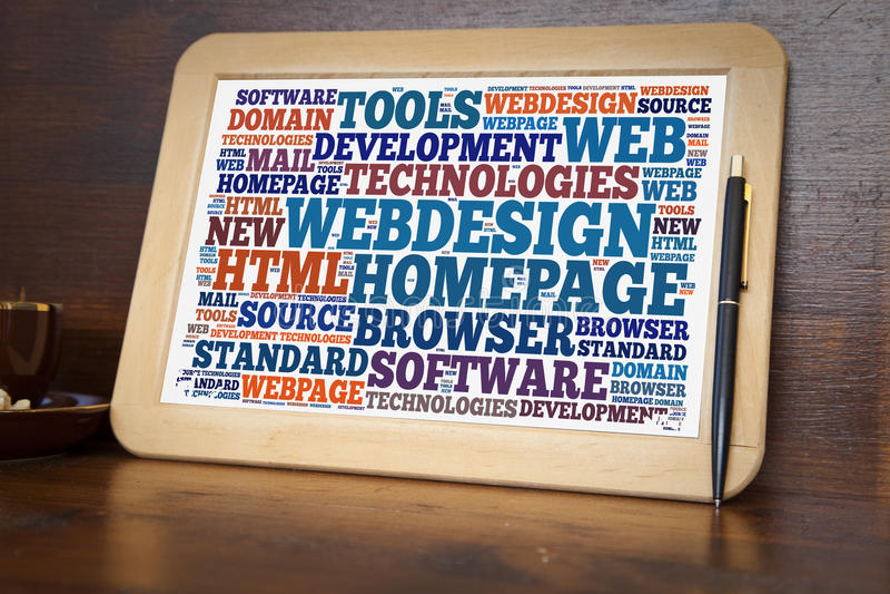 Webdesign word cloud. Blackboard with webdesign word cloud stock photo