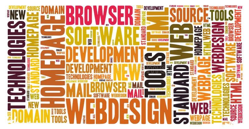 Webdesign. Word cloud webdesign homepage development stock illustration