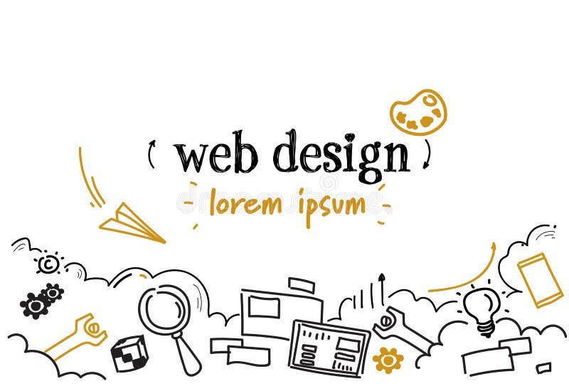 Webdesignentwicklungs-Konzeptskizze kritzeln horizontalen lokalisierten Kopienraum lizenzfreie abbildung