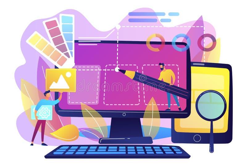 Webdesignentwicklungskonzept-Vektorillustration lizenzfreie abbildung