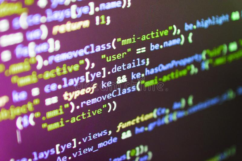 Webdesigner Workstation. Software source code. Website design. Big data and Internet of things trend. Computer script typing work stock photography