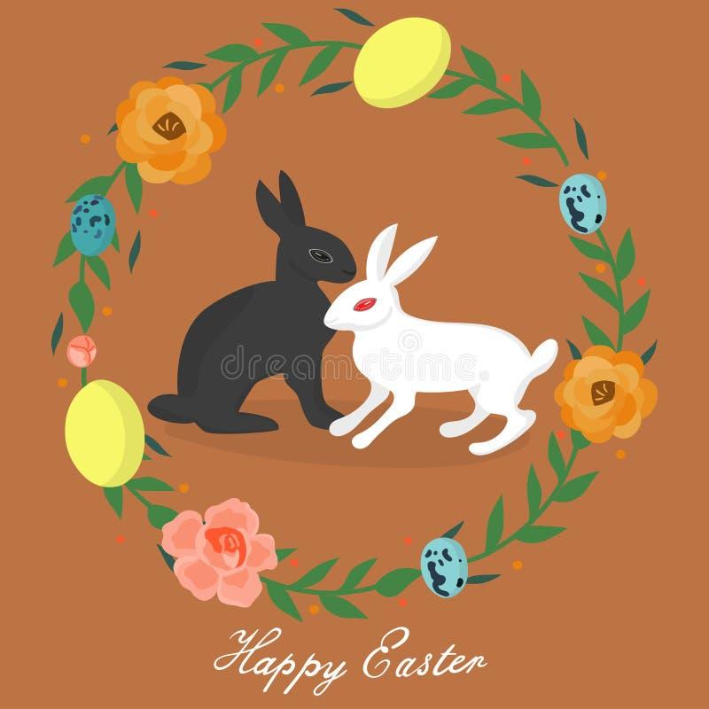 WebEaster kanin i århundradet av ägg och blommor stock illustrationer