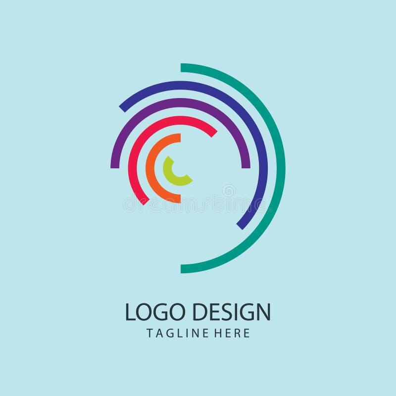 Webembleem Hexagon Spiraalvormig Logo Design Kleurrijk Embleem stock afbeelding