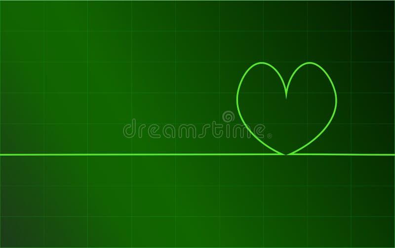 WebGreen心形的脉冲,心・跳,心脏显示器,数字式健康概念, EKG 库存例证