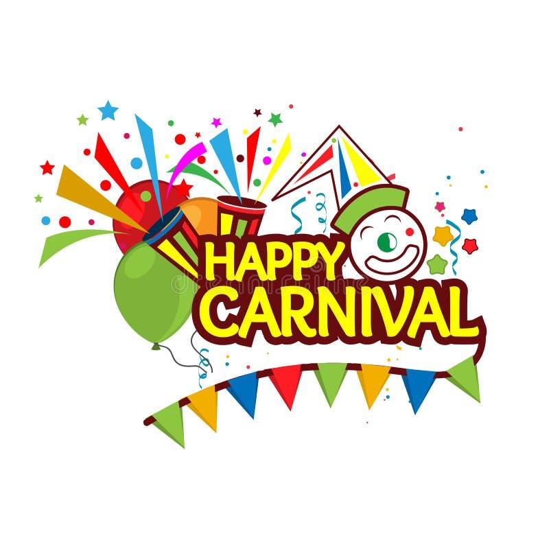 WebHappy-Karnevals-festliches Konzept mit Clown, Trompete und Ballon Entwürfe für Plakate, Hintergründe, Karten, Fahnen, Aufklebe lizenzfreie abbildung