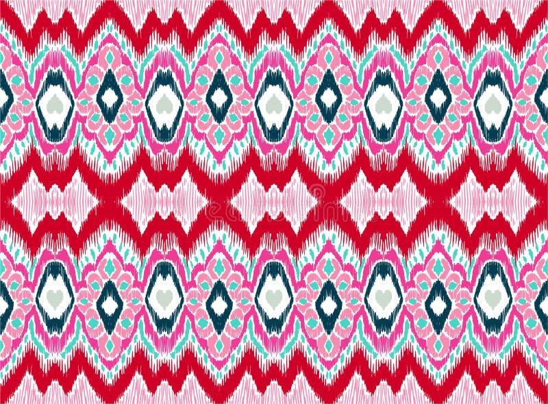 WebIkat几何民间传说装饰品 部族种族传染媒介纹理 在阿兹台克样式的无缝的条纹图形 库存例证