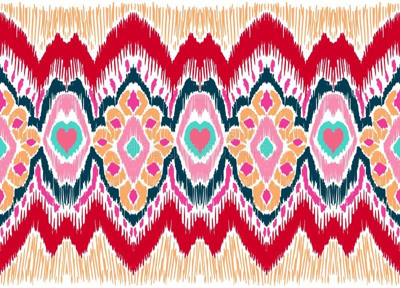 WebIkat几何民间传说装饰品 部族种族传染媒介纹理 在阿兹台克样式的无缝的条纹图形 皇族释放例证