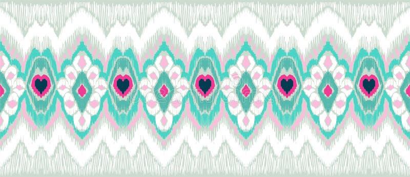 WebIkat geometrisk folkloreprydnad Stam- etnisk vektortextur Sömlös randig modell i Aztec stil vektor illustrationer