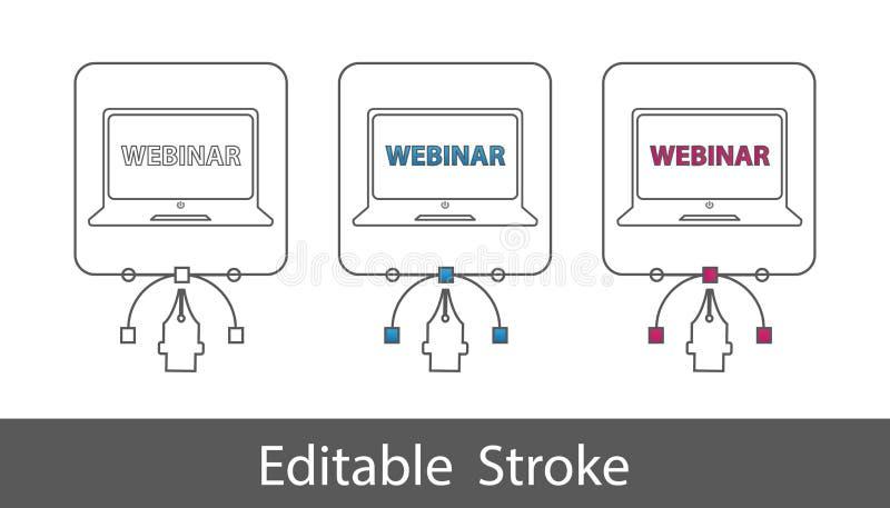 Webinar膝上型计算机标志-概述称呼了象-在白色背景-传染媒介例证-隔绝的编辑可能的冲程 皇族释放例证
