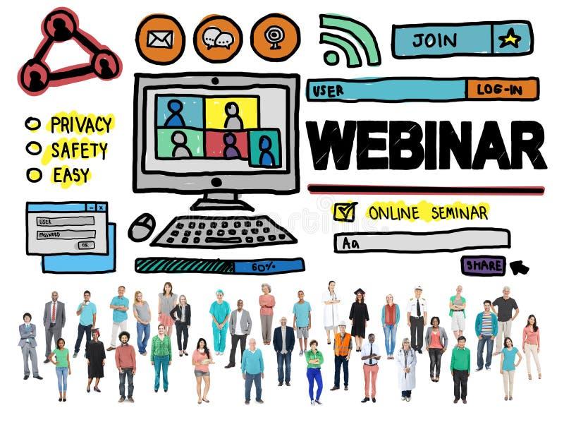 Webinar σε απευθείας σύνδεση έννοια Conmmunications σεμιναρίου σφαιρική ελεύθερη απεικόνιση δικαιώματος