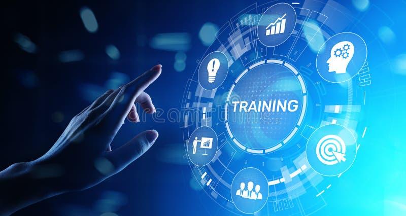 在虚屏上的训练网上教育Webinar个人发展刺激电子教学企业概念 向量例证