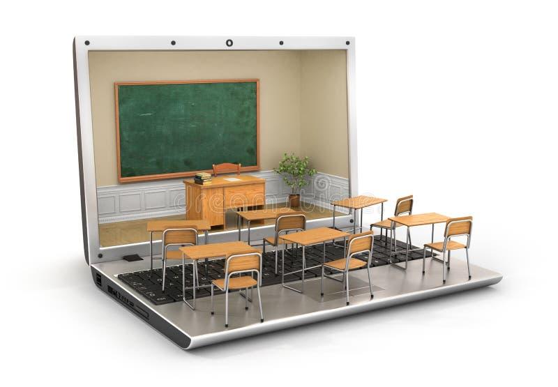 Webinar concept. Chalkboard with teacher desk in the laptop screen and school desk on the keyboard. 3d illustration royalty free illustration