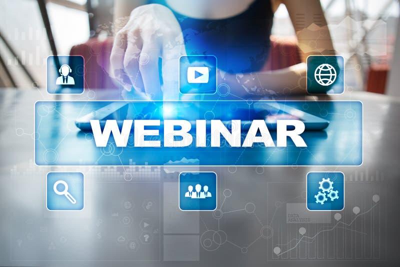 Webinar E-lära online-utbildningsbegrepp personlig utveckling royaltyfri bild