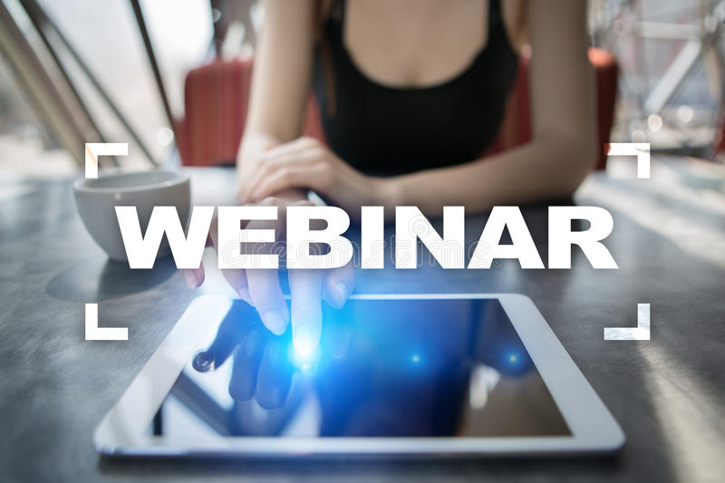 Webinar. E-Learning, Online Education concept. Personal development. royalty free stock image