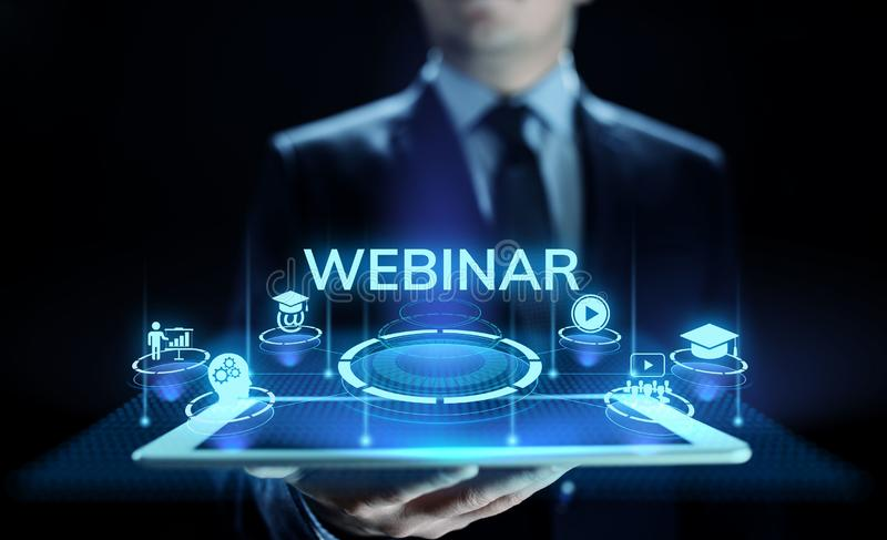 Webinar E-learning Online Seminar Education Business concept. stock image
