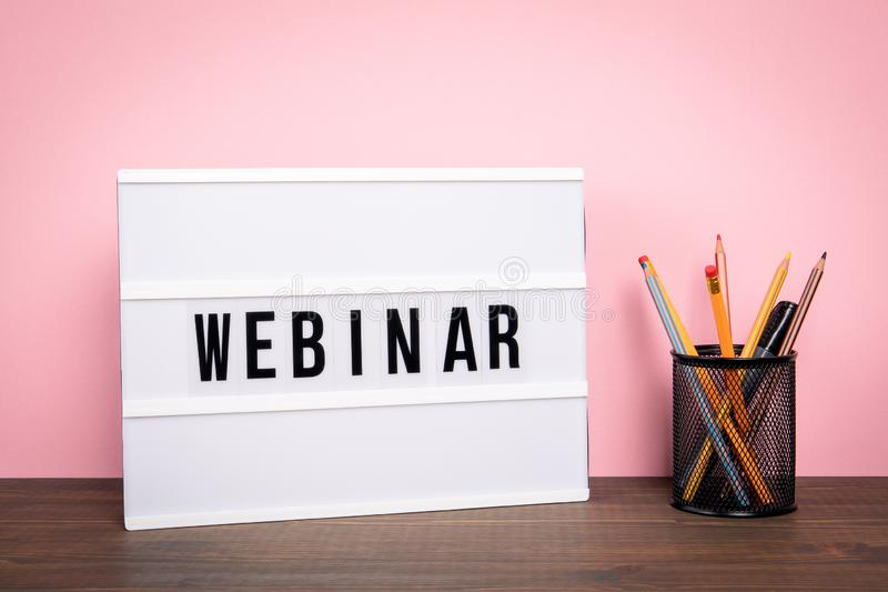 Webinar. E-learning, training, business and internet technology concept stock image