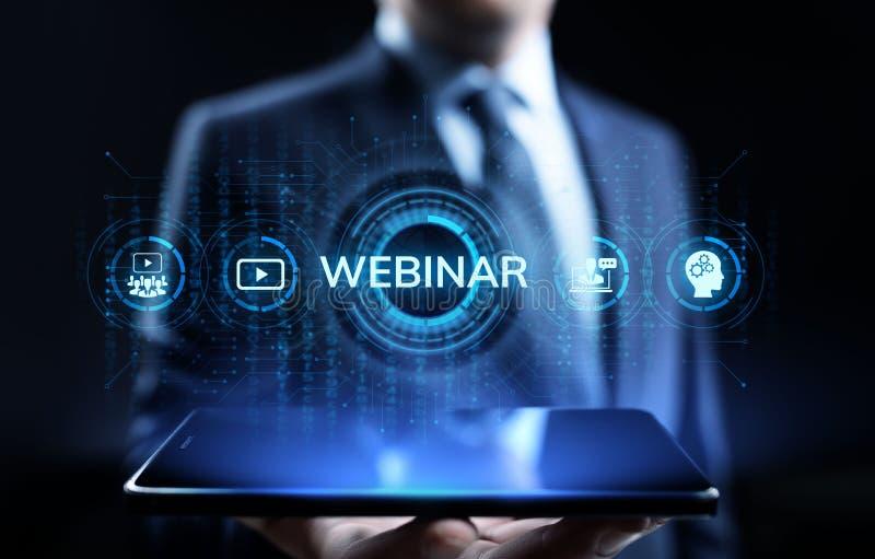 Webinar e-Leert Online van het Bedrijfs seminarieonderwijs concept vector illustratie