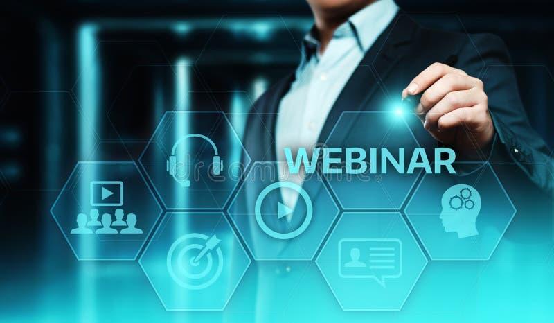 Webinar e-Lerende Opleidings de Commerciële Technologieconcept van Internet stock afbeelding