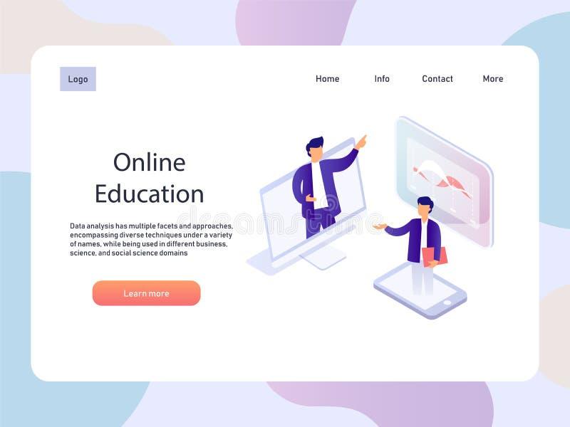 Webinar en línea Página isométrica del landidng de la educación Ejemplo del vector de la tecnología stock de ilustración