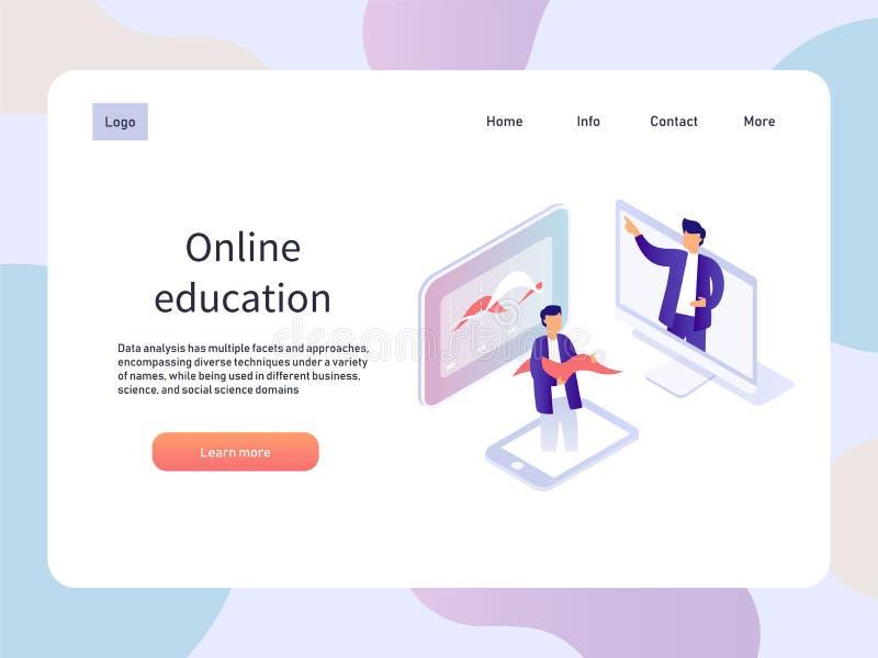 Webinar en línea Página isométrica del landidng de la educación Ejemplo del vector de la tecnología libre illustration