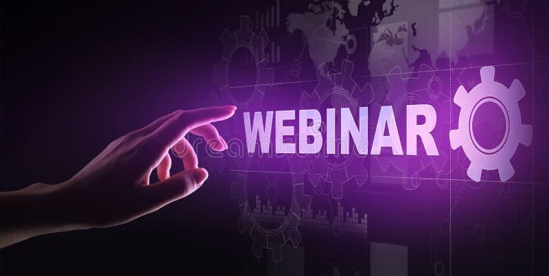 Webinar, entrenamiento en línea, concepto de la educación y del aprendizaje electrónico en la pantalla virtual imagen de archivo libre de regalías