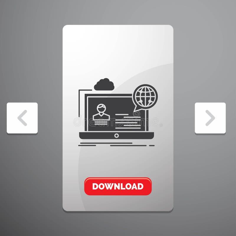 webinar, fórum, em linha, seminário, ícone do Glyph do Web site no projeto do slider das paginações do Carousal & botão vermelho  ilustração do vetor