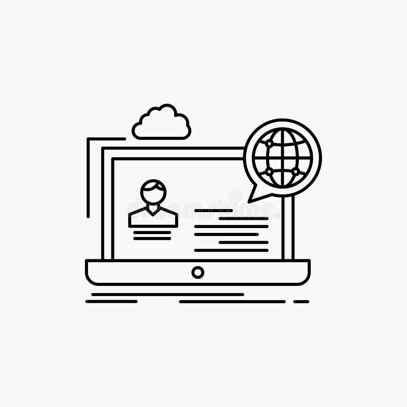 webinar, fórum, em linha, seminário, linha ícone do Web site Ilustra??o isolada vetor ilustração royalty free
