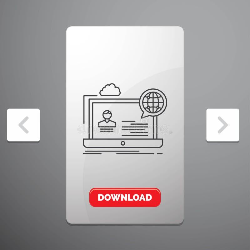 webinar, fórum, em linha, seminário, linha ícone do Web site no projeto do slider das paginações do Carousal & botão vermelho da  ilustração do vetor