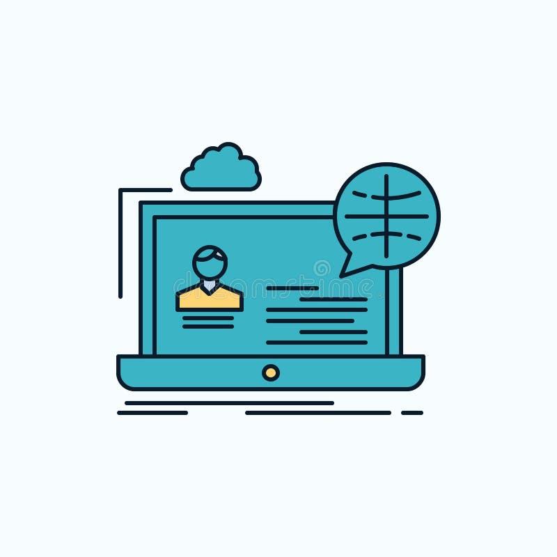 webinar, fórum, em linha, seminário, ícone liso do Web site sinal e s?mbolos verdes e amarelos para o Web site e o appliation m?v ilustração do vetor