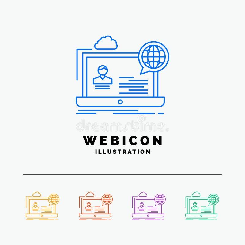 webinar, foro, en línea, seminario, línea de color de la página web 5 plantilla del icono de la web aislada en blanco Ilustraci?n stock de ilustración