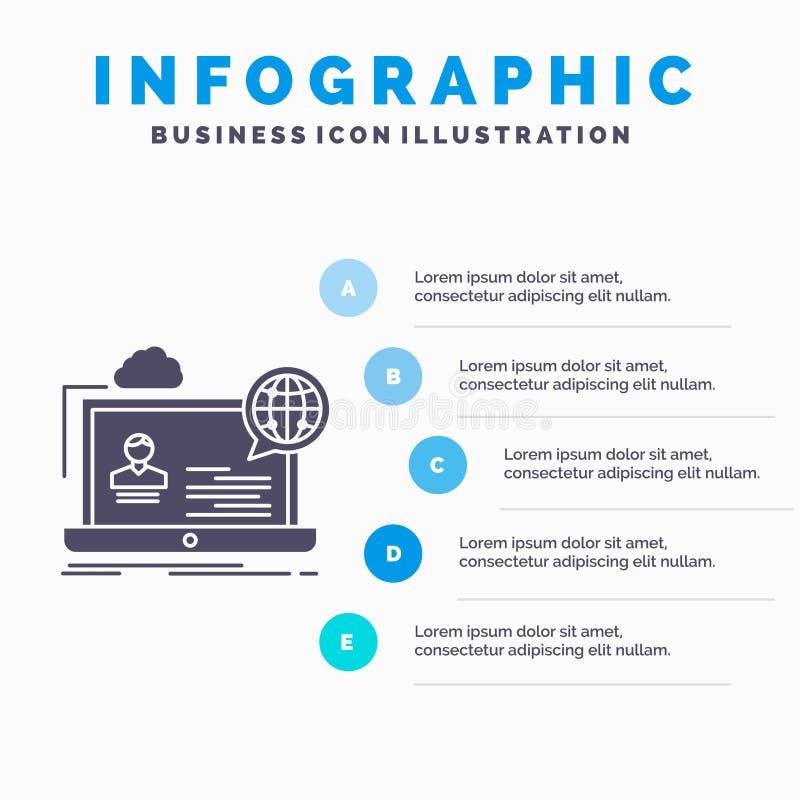 webinar, forum, online, seminarie, het Malplaatje van websiteinfographics voor Website en Presentatie GLyph Grijs pictogram met B stock illustratie