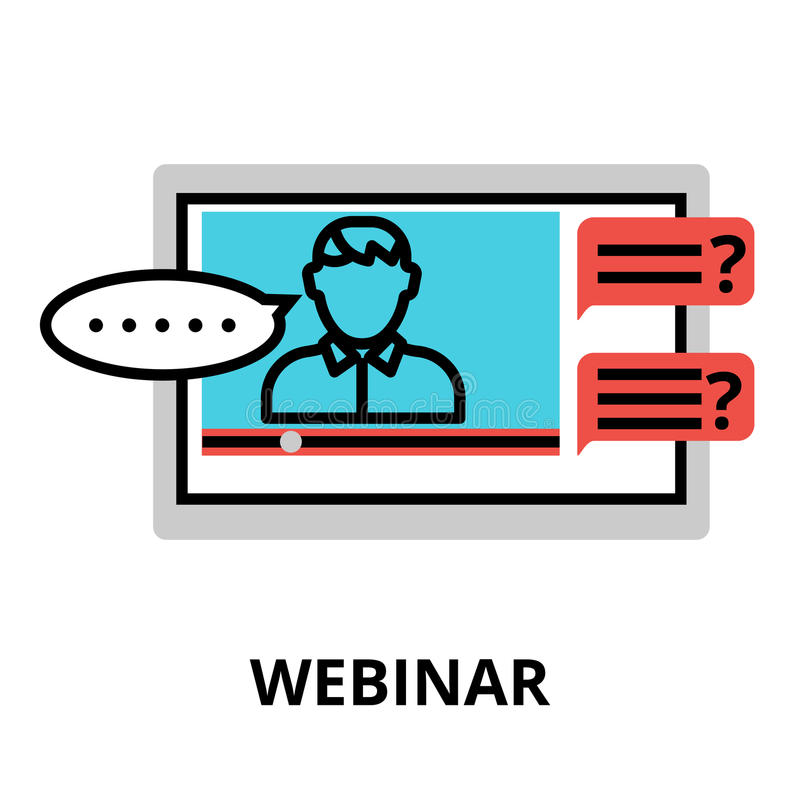Webinar Icon, Flat Thin Line Vector Illustration Stock ...