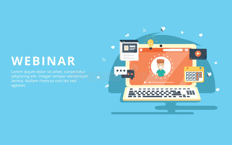 Webinar, internet conference, web based seminar flat design concept. With icons royalty free illustration
