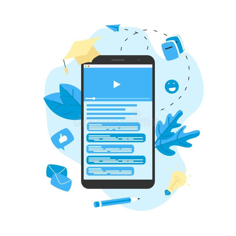 Webinar, Internet-Konferenz, Netz basierte Seminar, on-line-Ausbildung, flaches Konzept des Entwurfes des E-Learnings vektor abbildung