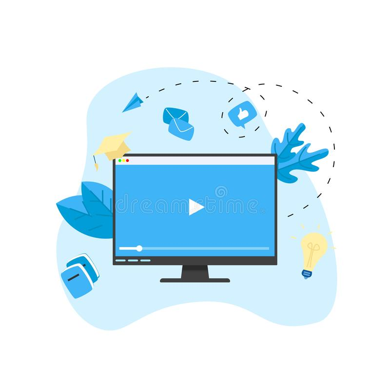 Webinar, Internet-Konferenz, Netz basierte Seminar, on-line-Ausbildung, flaches Konzept des Entwurfes des E-Learnings lizenzfreie abbildung