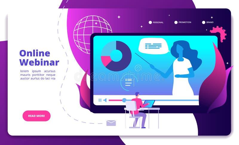 Webinar-Landung On-line--webinars Konferenzseminarsprechernetzberatung webcast Esitzungsvideointernet-Kurs lizenzfreie abbildung