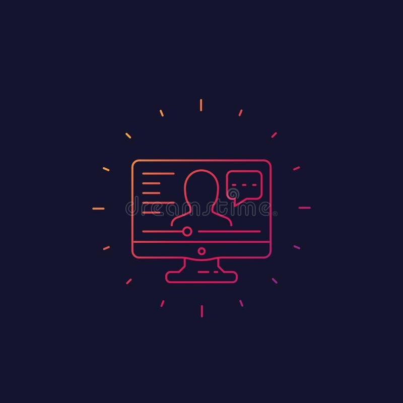 Webinar, linha em linha ícone do vetor da educação ilustração do vetor