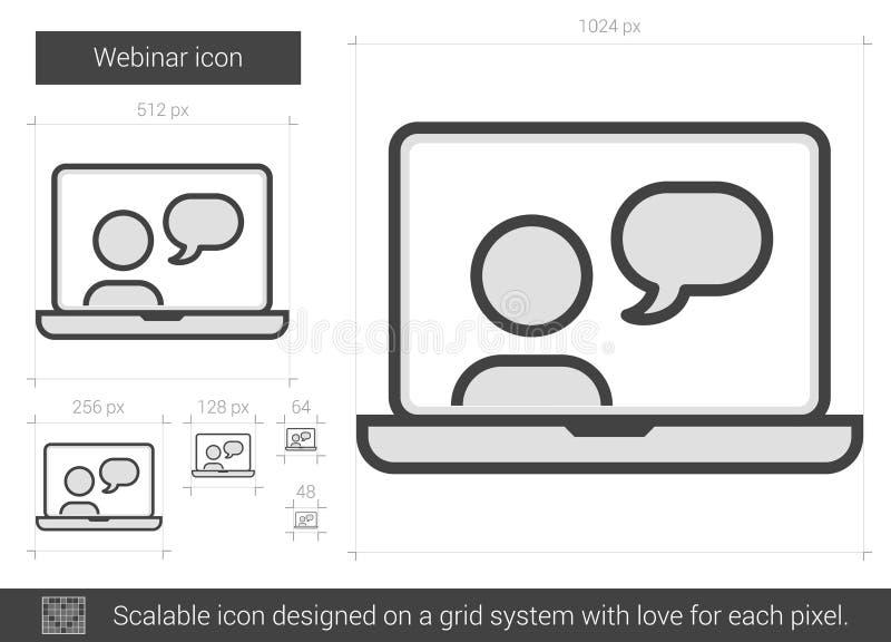 Webinar linje symbol stock illustrationer