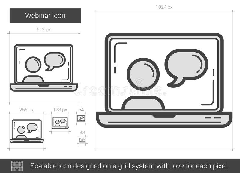 Webinar linje symbol vektor illustrationer